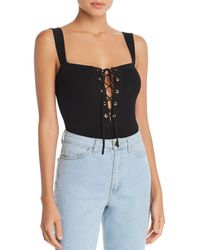 Olivaceous - Lace-up Bodysuit - Lyst