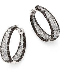 Roberto Coin - 18k White Gold Scalare White & Black Diamond Hoop Earrings - Lyst