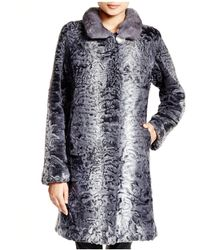 Maximilian - Maximilian Lamb Coat With Mink Collar - Lyst