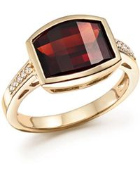 Bloomingdale's - Garnet And Diamond Statement Ring In 14k Yellow Gold - Lyst
