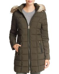 Laundry by Shelli Segal - Faux Fur Trim Hooded Puffer Coat - Lyst
