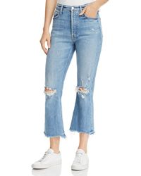 Mother - Tripper Distressed Cropped Flared Jeans In Misbeliever - Lyst