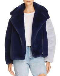 Heurueh - Color-block Faux-fur Moto Jacket - Lyst