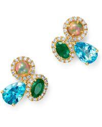 Bloomingdale's - Multi Gemstone & Diamond Earrings In 14k Yellow Gold - Lyst