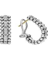 Lagos - Sterling Silver Caviar Spark Diamond Oval Hoop Earrings - Lyst