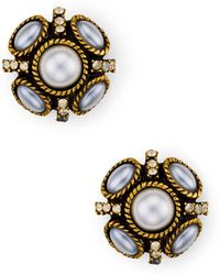 Oscar de la Renta - Button Stud Earrings - Lyst