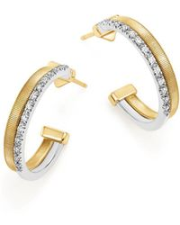Marco Bicego | 18k Yellow & White Gold Masai Two Row Pavé Diamond Hoop Earrings | Lyst