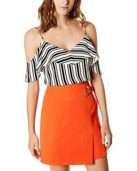 Karen Millen - Cold-shoulder Striped Camisole - Lyst