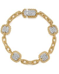 Roberto Coin - 18k White & Yellow Gold New Barocco Diamond Square Chain Link Bracelet - Lyst