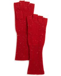 Aqua - Cashmere Donegal Cashmere Fingerless Gloves - Lyst