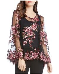 Karen Kane - Embroidered Sheer Bell Sleeve Blouse - Lyst