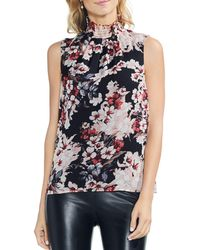 Vince Camuto - Smocked Mock-neck Sleeveless Top - Lyst