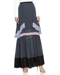 BCBGMAXAZRIA - Ruffled Color-block Maxi Skirt - Lyst