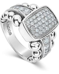 Lagos - Sterling Silver Caviar Spark Diamond Station Ring - Lyst