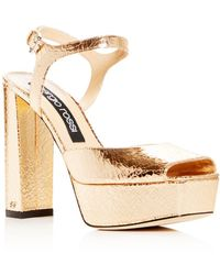 39a22553cce Sergio Rossi - Women s Crackled Leather High Block-heel Platform Sandals -  Lyst