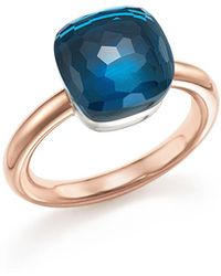Pomellato   Nudo Classic Ring With London Blue Topaz In 18k Rose Gold And White Gold   Lyst
