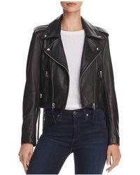 Aqua - Lace-up Leather Moto Jacket - Lyst
