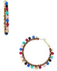 65852ae097c4e Lyst - Rebecca Minkoff Riley Beaded Drop Earrings in Blue