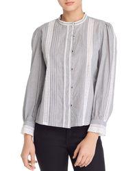 Rebecca Taylor - La Vie Lace-trim Striped Cotton Shirt - Lyst