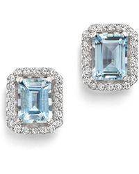 Bloomingdale's - Aquamarine & Diamond Stud Earrings In 14k White Gold - Lyst