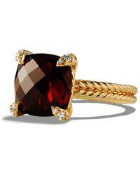David Yurman - Chã¢telaine® Ring With Gemstone And Diamonds In 18k Gold - Lyst