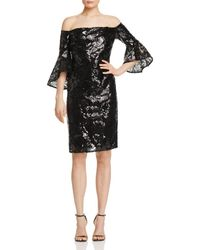 Laundry by Shelli Segal - Sequined Off-the-shoulder Sheath Dress - Lyst