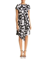 Kenneth Cole - Gathered Front Detail Dress (soft Focus Floral Black) Women's Dress - Lyst