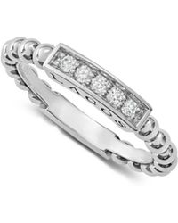 Lagos - Sterling Silver Caviar Spark Diamond Stacking Ring - Lyst
