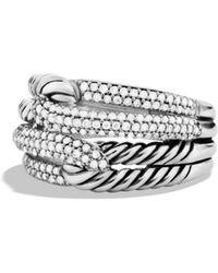David Yurman - Labyrinth Double-loop Ring With Diamonds - Lyst