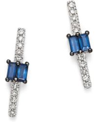 KC Designs - 14k White Gold Mosaic Sapphire & Diamond Stud Earrings - Lyst