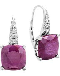 John Hardy - Sterling Silver Classic Chain Magic Cut Indian Ruby Drop Earrings With Diamonds - Lyst