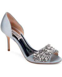 f0d019a6ac98 Badgley Mischka - Women s Hansen Embellished Satin D orsay High-heel Pumps  - Lyst