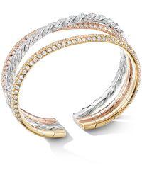 David Yurman - Paveflex Three-row Bracelet In 18k Gold With Diamonds - Lyst
