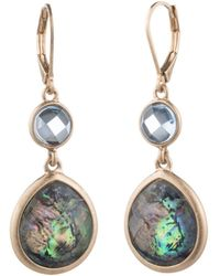 Aqua - Double Stone Drop Earrings - Lyst