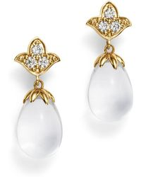Temple St. Clair - 18k Yellow Gold Lotus Drop Earrings With Rock Crystal And Diamonds - Lyst