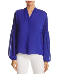 Elie Tahari | Georgia Pintucked Bishop Sleeve Blouse | Lyst