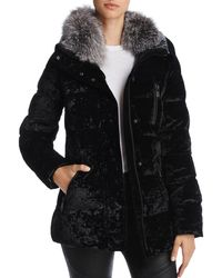 Andrew Marc - Vara Fox Fur Trim Velvet Down Coat - Lyst