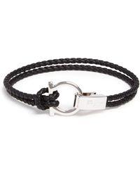 Ferragamo - Braided Double Wrap Bracelet With Gancio Closure - Lyst
