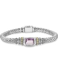 Lagos - 18k Gold And Sterling Silver Caviar Color Bracelet With Amethyst - Lyst