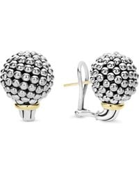 Lagos - Sterling Silver Large Caviar Bead Stud Earrings With 18k Gold - Lyst