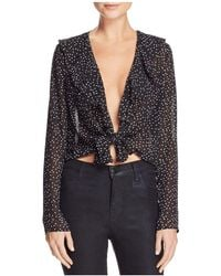 Cotton Candy - Polka Dot Tie-front Top - Lyst