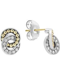 Lagos - 18k Gold And Sterling Silver Enso Double Circle Stud Earrings With Diamonds - Lyst