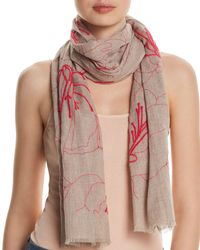 Fraas - Embroidered Floral Oblong Scarf - Lyst