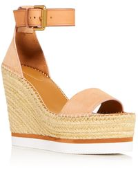 08f3a3286b3c See By Chloé - Glyn Leather Espadrille Platform Wedge Ankle Strap Sandals -  Lyst