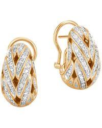 John Hardy | 18k Yellow Gold Classic Chain Pavé Diamond Buddha Belly Earrings | Lyst