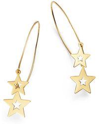 Moon & Meadow - Double Star Wire Drop Earrings In 14k Yellow Gold - Lyst