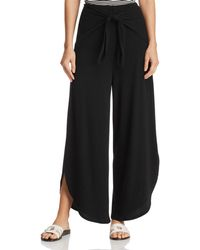 Aqua - Ribbed Tie-front Wide-leg Trousers - Lyst
