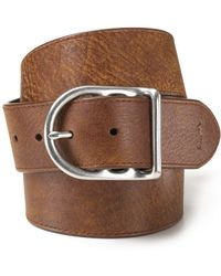 Ralph Lauren - Polo Distressed Leather Belt With Dull Nickle Centerbar  Buckle - Lyst 65ab48e5f33