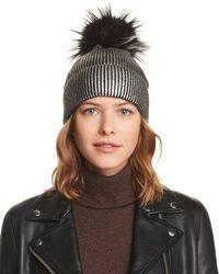 Jocelyn - Fox Fur Pom-pom Metallic Beanie - Lyst