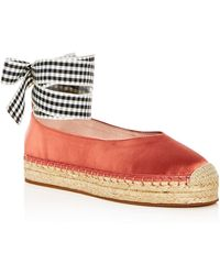 Avec Les Filles - Women's Georgie Satin Ankle Tie Platform Espadrille Flats - Lyst
